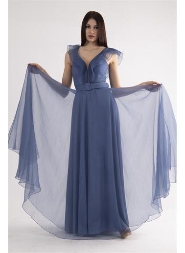 Belamore  Volanlı Abiye & Mezuniyet Elbisesi 1301601.98 İndigo